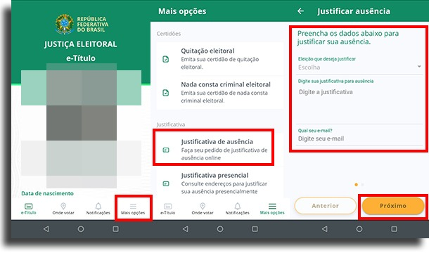 como usar o aplicativo para justificar voto