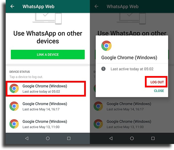 Learn where your account is used stolen WhatsApp account