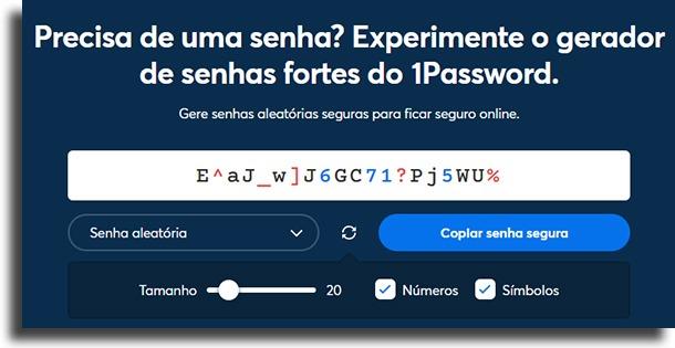 geração 1Password vs senhas do navegador