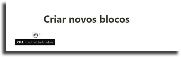 Criar novos blocos