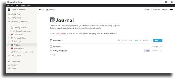 Criar um diário dicas e truques do Notion