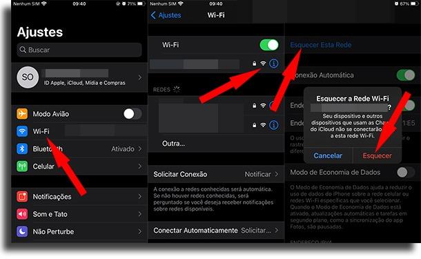 desativar conexão automática ao Wi-Fi no iPhone ao esquecer