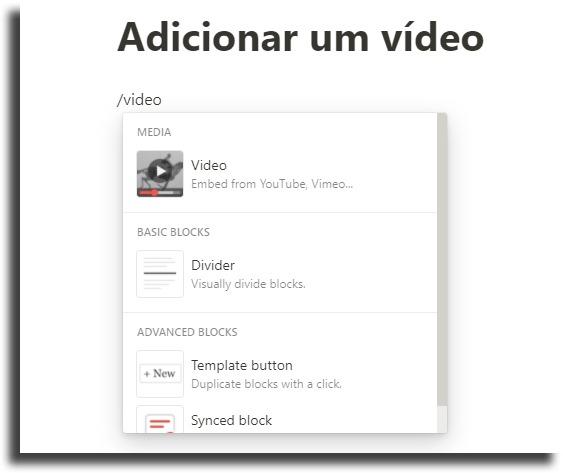 Colocar vídeos nas páginas dicas e truques do Notion