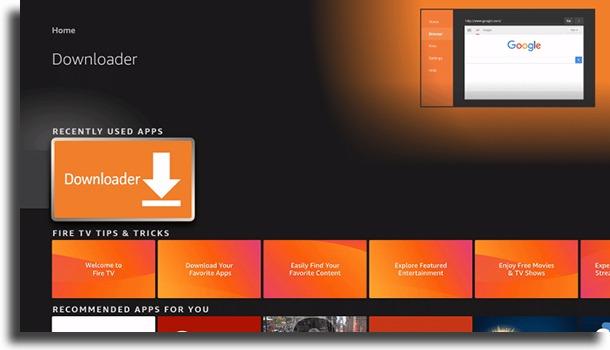 abrir o downloader instalar Google Play Store no Fire TV