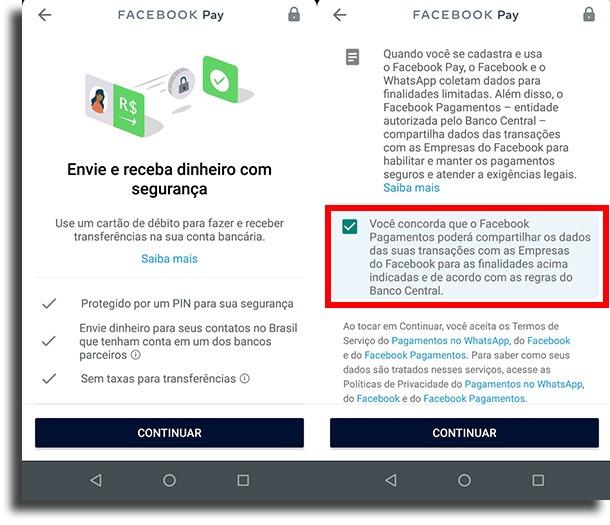 concordar com os termos pagamentos pelo WhatsApp