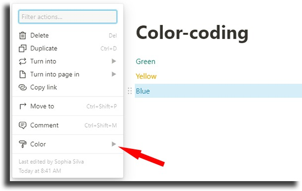 Color-code your blocks notion tips and tricks