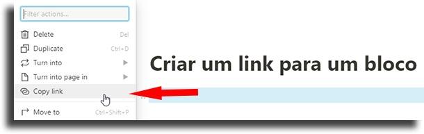 Criar um link para um bloco dicas e truques do Notion
