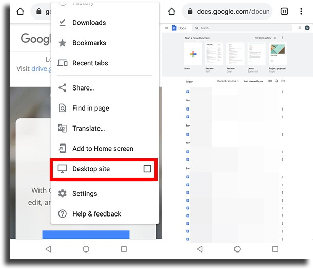 Desktop site android check edit history in Google Docs