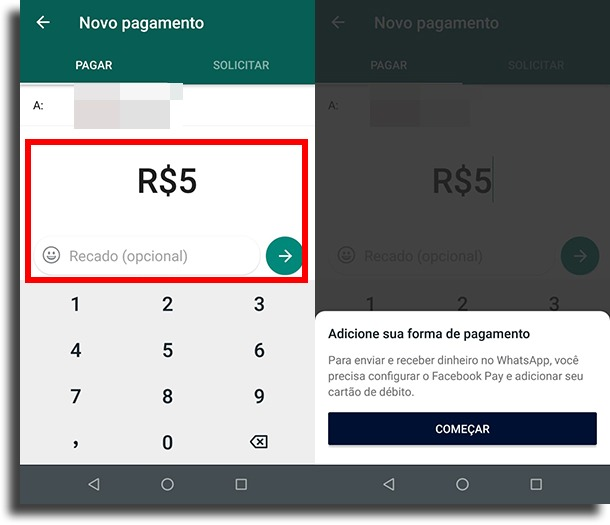 começar a configurar pagamentos pelo WhatsApp