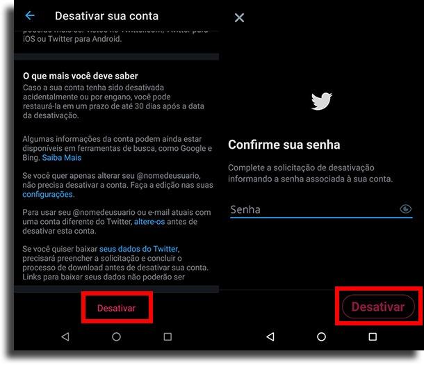 Confirmar no Android apagar a conta do Twitter