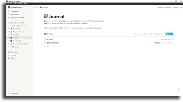 Create a journal notion tips and tricks