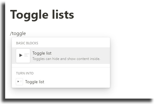 Create toggle lists notion tips and tricks