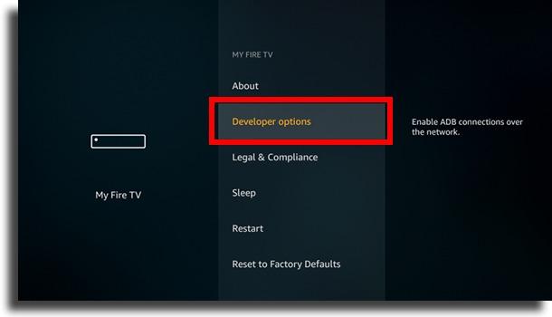 opções do desenvolvedor instalar Google Play Store no Fire TV