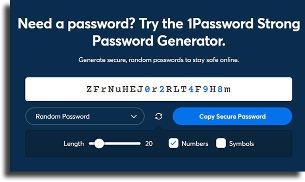password generation 1Password vs browser passwords