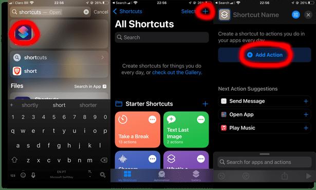 Click on the shortcuts app!