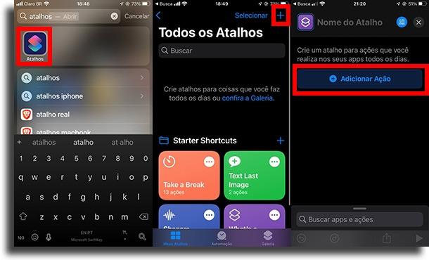 Adicionar Ação adicionar um atalho à tela inicial do iPhone