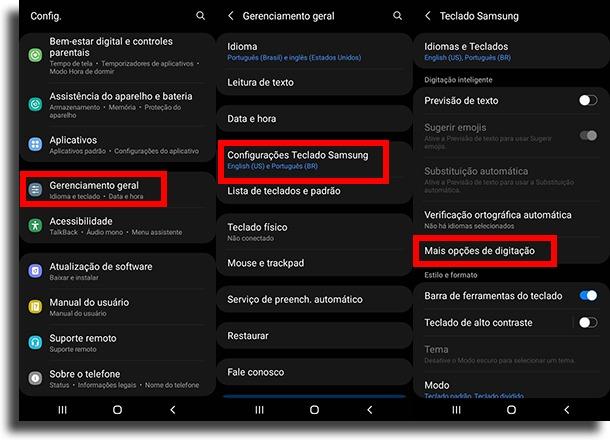 indo até mais opções de digitação criar atalhos de texto no Android