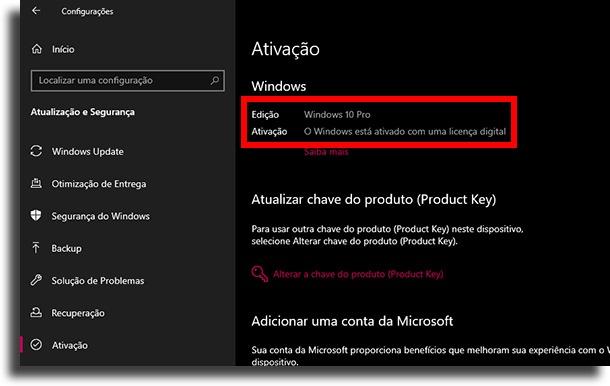 ativação Windows 10 está ativado