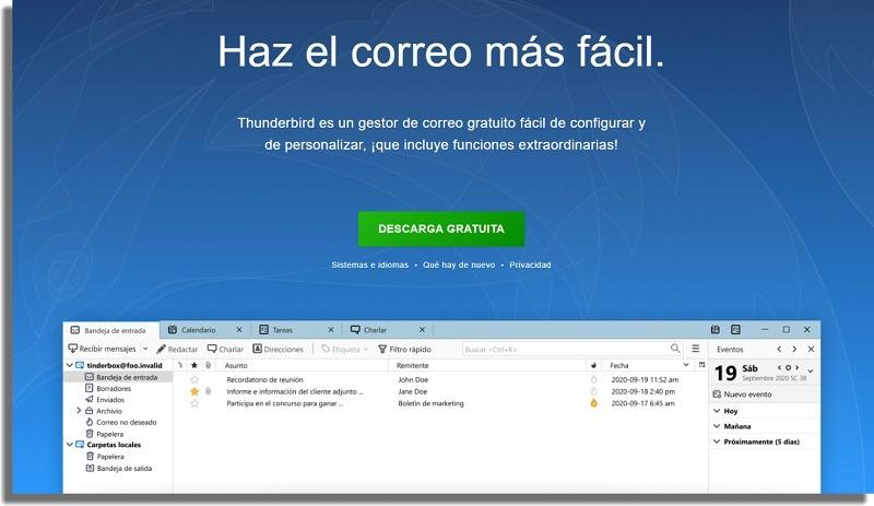 Thunderbird aplicaciones de correo electrónico windows