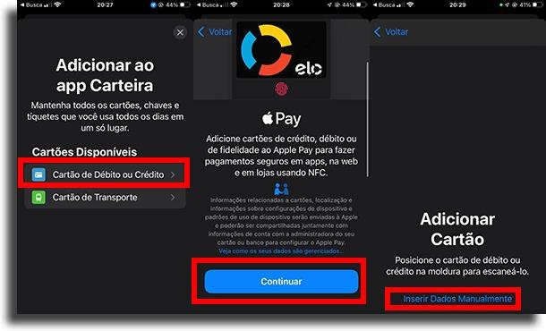 Adicionar cartão bancos compatíveis com Apple Pay