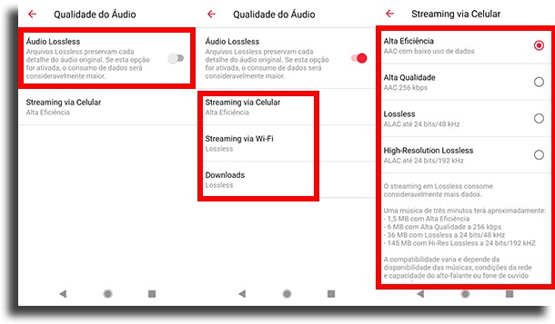 habilitar e configurar no android lossless da Apple Music