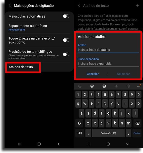 adicionando o atalho no teclado samsung criar atalhos de texto no Android