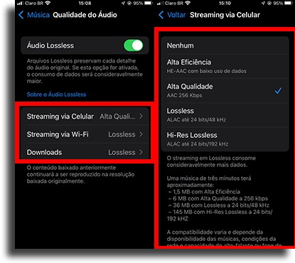 configurar no ios lossless da Apple Music