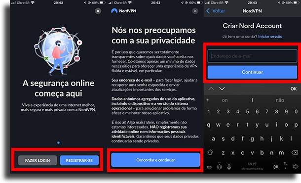 começar a criar a conta como usar VPN no iPhone