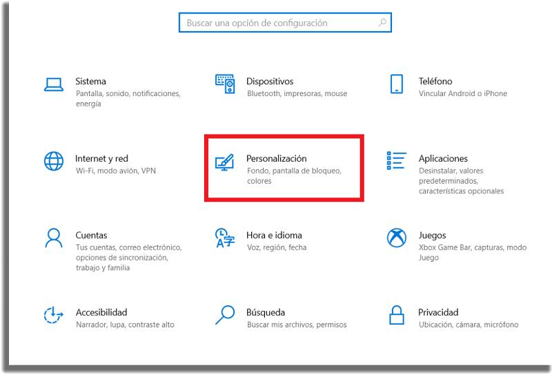 menú configuraciones windows 10