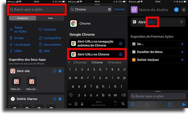 Buscar Chrome e tocar em URL adicionar um atalho à tela inicial do iPhone