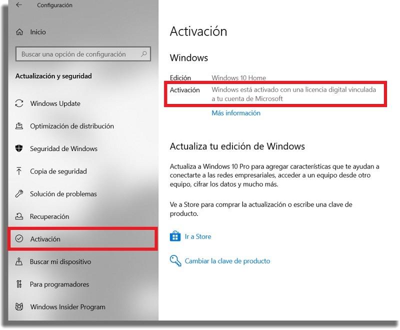 saber si está activado windows 10