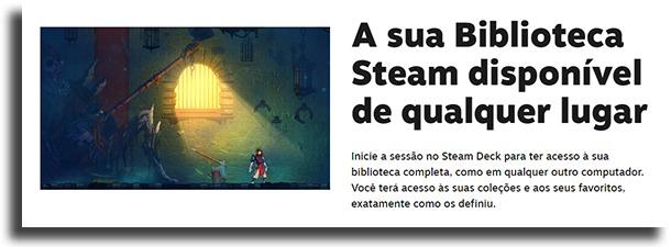 biblioteca steam do Steam Deck