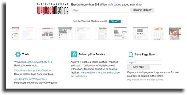 The Wayback Machine navegar por la deep web