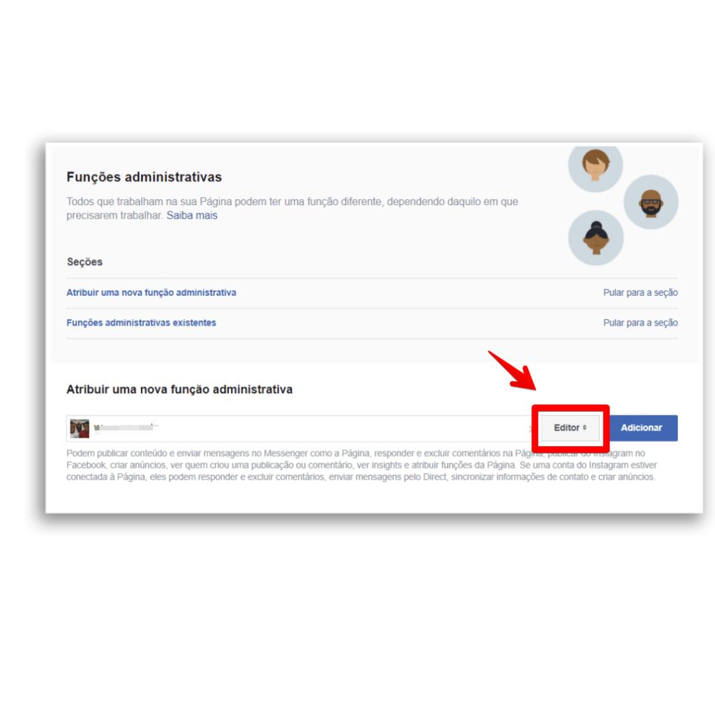 adicionar administrador facebook editor