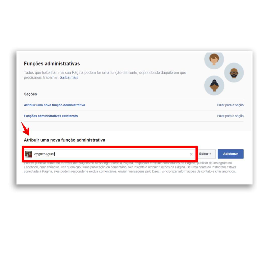 adicionar administrador facebook atribuir função