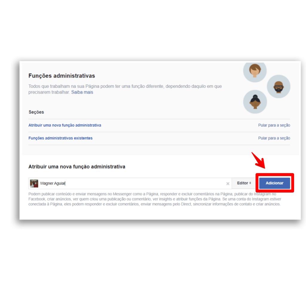 adicionar administrador facebook adicionar