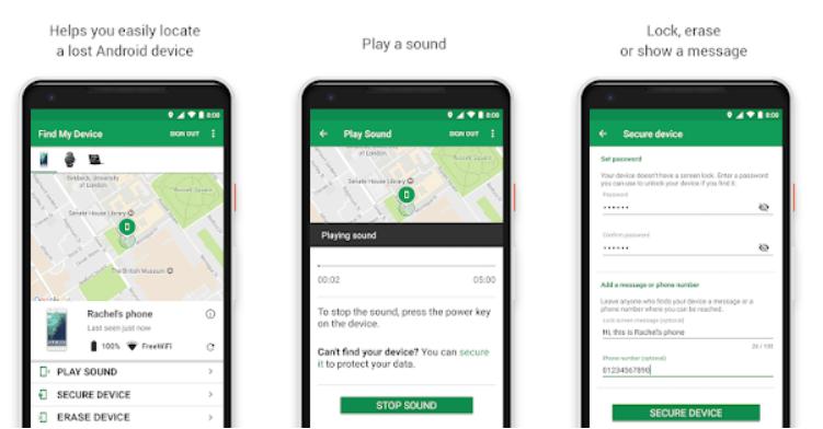 Encontrar mi Dispositivo (Google) aplicaciones de seguridad