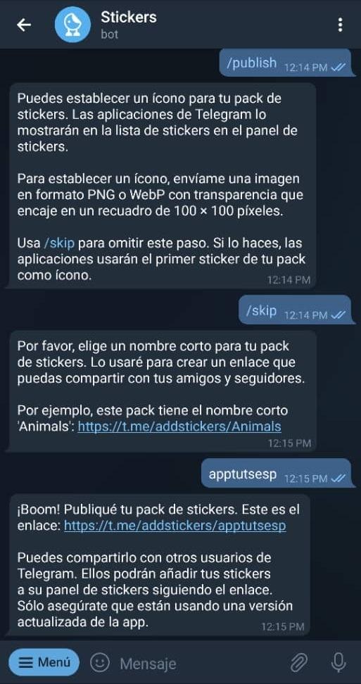 Cómo crear stickers en Telegram Paso 16