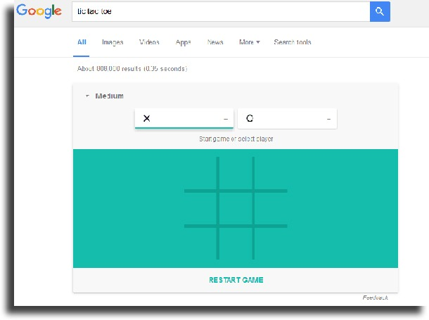 choose what to play as play Google's secret Tic Tac Toe