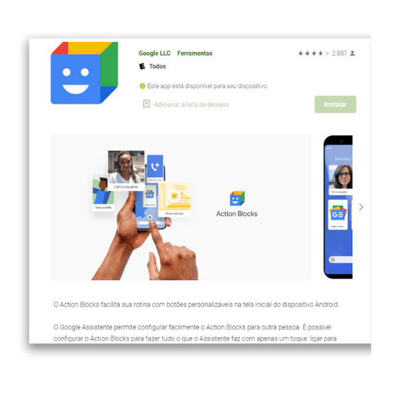 aplicativos de automação para Android Action Blocks