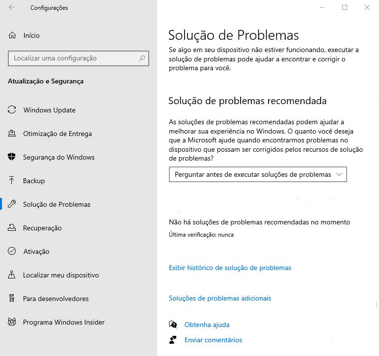 solução de problemas Windows update
