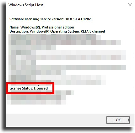 check if Windows 10 is activated by seeing License Status: licensed
