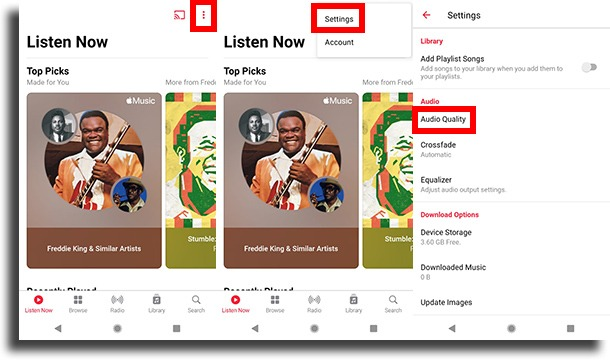 navigate to audio quality on android Apple Music lossless