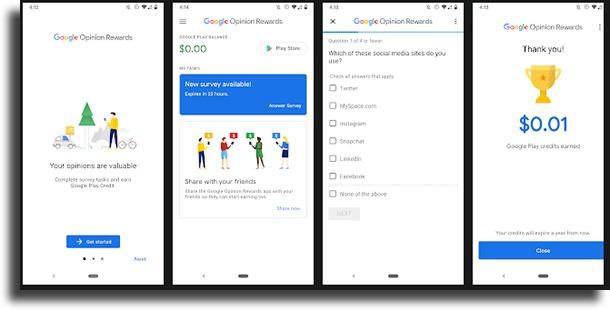 Google Opinion Rewards best apps to make money