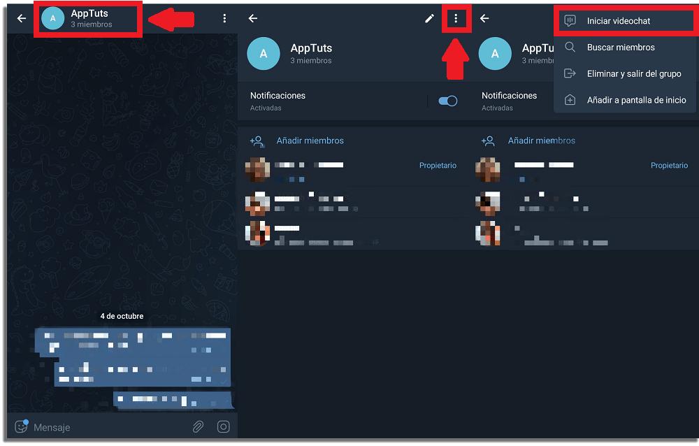 cómo hacer una videollamada en grupo en Telegram