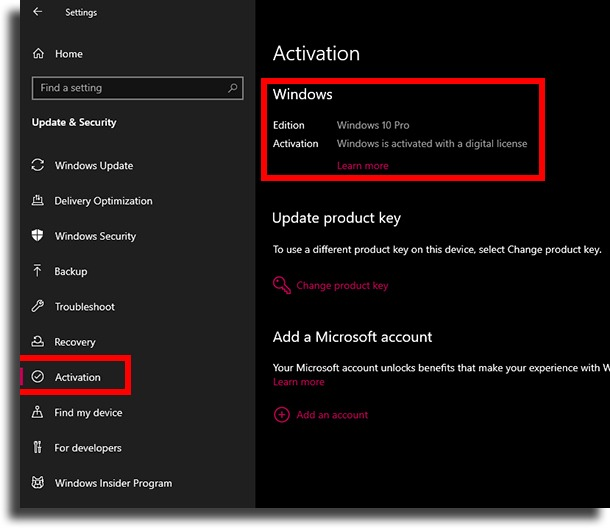 activation status in settings check if Windows 10 is activated